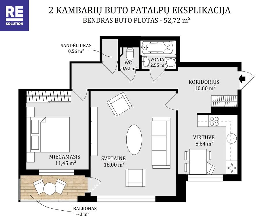 Parduodamas 2 kambarių butas Taikos g. nuotrauka nr. 21