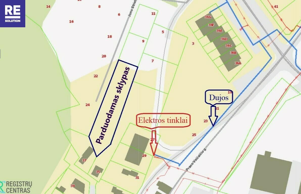 Parduodamas 14.52 a  ploto namų valdos sklypas P. Vaičaičio g., Visoriuose nuotrauka nr. 5