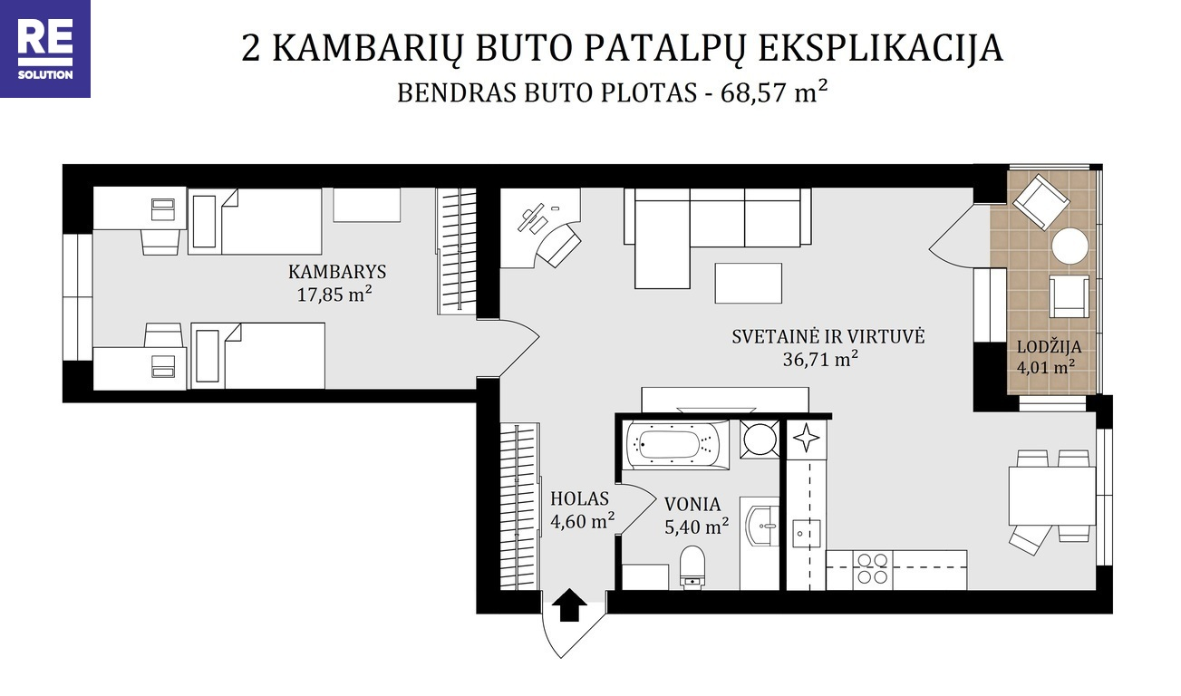 Parduodamas butas Liudviko Zamenhofo g., Fabijoniškėse, Vilniuje, 68.57 kv.m ploto nuotrauka nr. 22