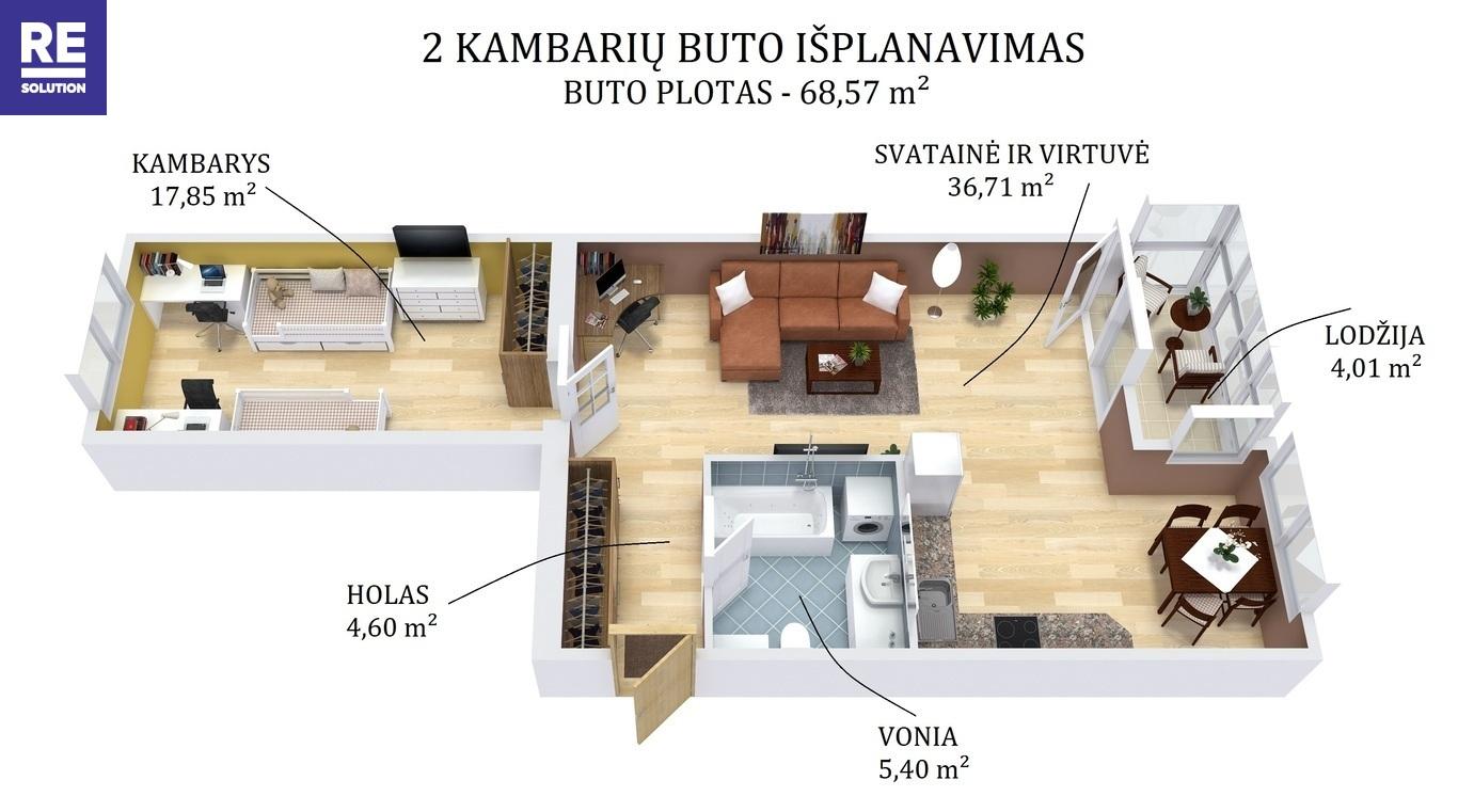 Parduodamas butas Liudviko Zamenhofo g., Fabijoniškėse, Vilniuje, 68.57 kv.m ploto nuotrauka nr. 23