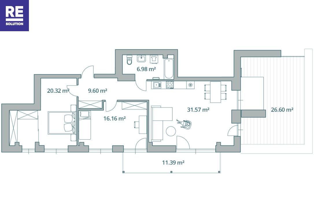 Parduodamas 3-jų kambarių butas Antakalnyje, 67 kv.m ploto nuotrauka nr. 21