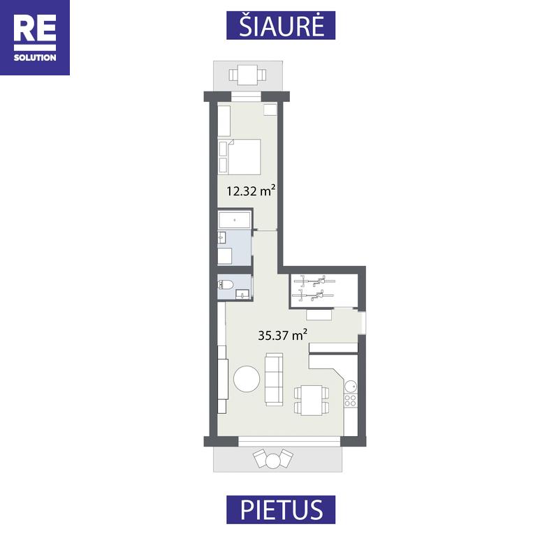 Parduodamas butas Vilkpėdės g., Naujamiestyje, Vilniuje, 57.57 kv.m ploto nuotrauka nr. 17