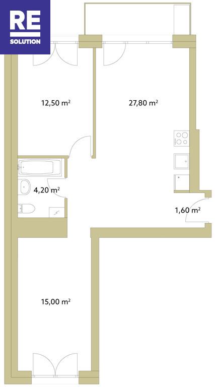 Parduodamas butas Polocko g., Užupyje, Vilniuje, 60.6 kv.m ploto nuotrauka nr. 12