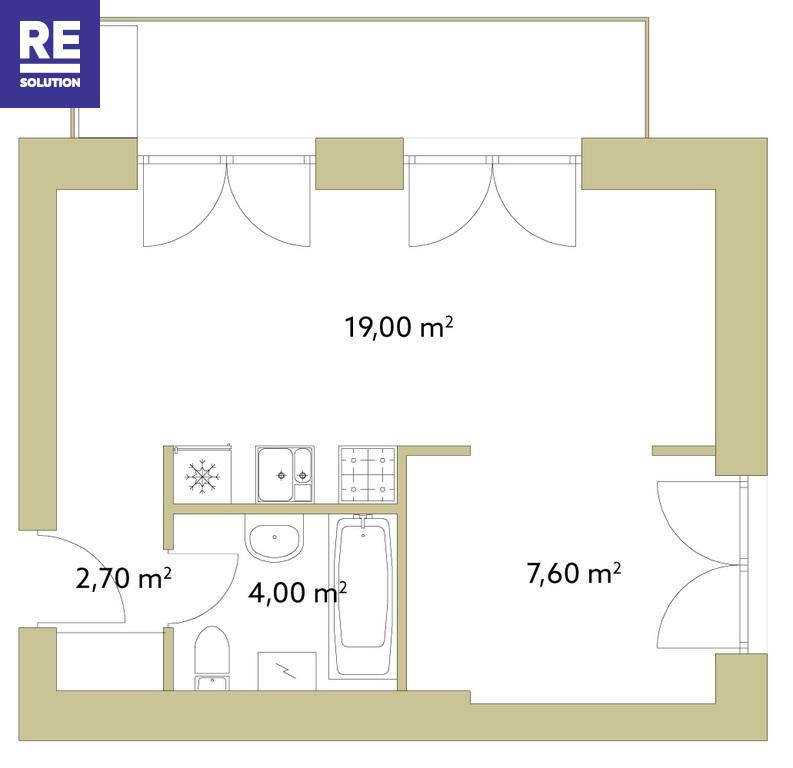 Parduodamas butas Polocko g., Užupyje, Vilniuje, 33.16 kv.m ploto nuotrauka nr. 14